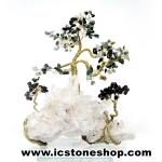 ต้นไม้มงคล หินมอสอาเกต+โกเมน+ควอตซ์ ใช้เสริมฮวงจุ้ย โต๊ะทำงาน (507g)