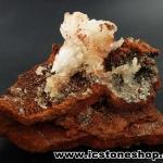 ▽เฮมิมอร์ไฟต์ บนไลโมไนท์ (Hemimorphite on Limonite Matrix) จากเม็กซิโก (89g)