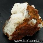 ▽เฮมิมอร์ไฟต์ บนไลโมไนท์ (Hemimorphite on Limonite Matrix) จากเม็กซิโก (99g)