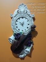 นาฬิกาเรซิ่นแขวนผนัง ประดับกุหลาบ และไวโอลิน