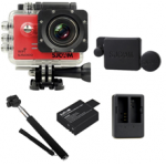 Sj5000 WiFi (Red)+(Battery+Dual charger+Protective Lans+Monopod Selfie)