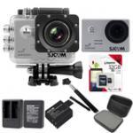 Sj5000 WiFi (Silver) +Micro SD Kingston 32GB+Battery+Dual Charger+Monopod+Bag (Black)