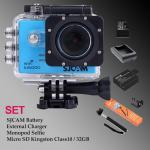 Sj5000 WiFi (Blue) - Micro SD Kingston 32GB+Battery+Charger+Monopod