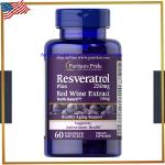 Resveratrol 250 mg Plus Red wine Extract 10mg/ 60 Softgels