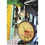 นาฬิกาวินเทจสีดำ รูปนกกิ่งไม้ มี 2 หน้าปัด
