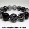 ▽สร้อยข้อมือ ไหมดำ-แก้วขนเหล็ก (Black Rutilliated Quartz) 15mm
