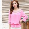 [พร้อมส่ง] เสื้อชีฟองสีชมพู ดีไซน์สวย ปักฉลุหน้าหลัง ตัดเย็บสวยเหมือนแบบค่ะ รหัส B131