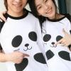 เสื้อคู่รัก หวานแวว ลายน่ารัก เสื้อขาว แขนสีดำ