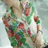 เสื้อแฟชั่น Size L เชิ๊ตคอปก โทนสีเขียวลายดอกไม้ แขนสามส่วน