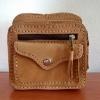 กระเป๋าหนังแท้ คาดเข็มขัด หนังซามัว สีน้ำตาล สภาพดีมาก!!