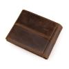 GT-8064 กระเป๋าสตางค์ผู้ชาย ใบสั้น หนังแท้ สีน้ำตาล