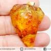 มีแมลงภายใน-จี้เงินแท้ชุบทองโคปอลธรรมชาติ (COPAL) อำพันอายุน้อยธรรมชาติ จากโคลัมเบีย Colombia Amber (43 กะรัต)