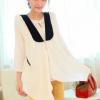 เสื้อคลุมชีฟองสีขาว คอวีด้านหน้าย้วย แบบเก๋