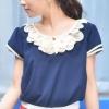 เสื้อแฟชั่นชีฟอง Size L สีน้ำเงิน คอแต่ง แขนสั้นแต่ง 2 ชั้น กุ้นขอบสีขาว