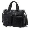 OP2260 AS กระเป๋าสะพายข้างผู้ชาย หนังแท้ สีดำ ปั้มลายสาน