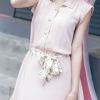 ชุดเดรส สีชมพู เสื้อคอปกติดกระดุมสวยงาม