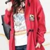 เสื้อคลุม มีฮู้ด สีแดง เชือกรูดดึงที่เอว กระเป๋าสองข้าง