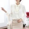 เสื้อเชิ๊ตทำงาน คอปก สีขาว แขนยาว แต่งระบาย เรียบสวย