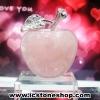 [โปรโมชั่น] แอปเปิ้ลแห่งความรัก โรสควอตซ์ Rose Quartz พร้อมฐานแก้ว