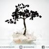 ต้นไม้มงคล หินออบซิเดียน ฐานควอตซ์ ใช้เสริมฮวงจุ้ย โต๊ะทำงาน (350g)