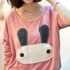 เสื้อแฟชั่น เสื้อแขนยาว สีชมพู size M รูปกระต่ายน่ารัก แบบเท่ห์ๆ