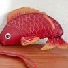 กระเป๋าหนังแท้ ใส่เหรียญ รูปปลา สีแดง สภาพดีมาก