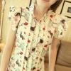 เสื้อคอจีน จับจีบด้านหน้า ลายน่ารัก แขนระบาย โทนสีขาว