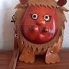 กระเป๋าหนังแท้ ใส่เหรียญ รูปสิงโต สีน้ำตาล สภาพดีมาก!!
