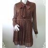 """Dress0510--เดรสชีฟอง มือสอง สีน้ำตาลลายจุด """"อก 36 นิ้ว"""""""