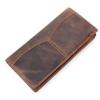 GT-8059 กระเป๋าสตางค์ผู้ชาย ใบยาว หนังนูบัค สีน้ำตาลเข้ม