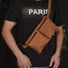 GT-8268 กระเป๋าคาดอก คาดเอว หนังนูบัค สีน้ำตาล