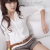 เสื้อทำงานสีขาว มีจีบช่วงด้านหน้า แขนสามส่วน สไตล์สาวเกาหลี