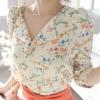 เสื้อแฟชั่น เสื้อชีฟอง ลายดอก สีขาว คอวี แขนยาว ไหล่พองเล็กน้อย