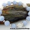 ▽ํสร้อยหิน บลูเลซอาเกต (Blue Lace Agate) & มูนสโตน 10mm.