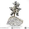 ต้นไม้มงคล ต้นไม้ หินดัลเมเชี่ยน แจสเปอร์ +ออบซิเดียน ใช้เสริมฮวงจุ้ย โต๊ะทำงาน (727g)
