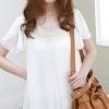 เสื้อแฟชั่น เสื้อทำงานสีขาว ผ้าชีฟอง คอแต่ง แขนสั้น ตัวปล่อย สวยเรียบร้อย