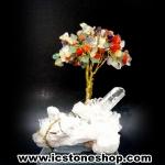 ต้นไม้มงคล หินรวม ฐานควอตซ์ ใช้เสริมฮวงจุ้ย โต๊ะทำงาน (397g)