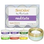 SenOdos กลิ่นมีสมาธิ เทียนหอมอโรม่า Soy Candles Aroma Meditate (แพ็ค 6 ชิ้น) + เชิงเทียน ที่วางเทียนทีไลท์ ศิลาดล (เซลาดล) สีเขียวหยกขอบทอง