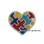จิ๊กซอหัวใจ 9x8 มม. เคลือบ Enamel หลากสี (ตัวติดต่างหู)