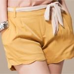กางเกงขาสั้น Size M สีเหลือง สวมใส่สบาย เอวยางยืด (พร้อมผ้าผูกเอว)
