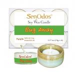 SenOdos เทียนหอมอโรม่า เทียนทีไลท์ Tealight Set Bug Away Soy Candles เทียนหอมไล่ยุงและแมลง 15g. (6 PCS) + เชิงเทียน ที่วางเทียนทีไลท์ ศิลาดล (เซลาดล) สีเขียวหยกขอบทอง