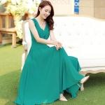 [หมด] เดรสยาวผ้าชีฟองสีเขียวสดใส สวมใส่สวยสบาย ตัดเย็บเรียบร้อยค่ะ รหัส A48