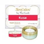 SenOdos เทียนหอม อโรม่า เทียนทีไลท์ Tealight Set Rose Soy Candles เทียนหอม อโรม่า - กลิ่นกุหลาบ 15 g. (6 ชิ้น) + เชิงเทียน ที่วางเทียนทีไลท์ ศิลาดล (เซลาดล) สีเขียวหยกขอบทอง