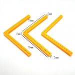 แท่งพลาสติกเจาะรูแนวตั้งรูปตัว L สีเหลือง ขนาด 75mm
