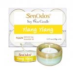 SenOdos เทียนหอมอโรม่า เทียนทีไลท์ Tealight Set Ylang Ylang Soy Candles - กลิ่นกระดังงา 15 กรัม 6 ชิ้น + เชิงเทียน ที่วางเทียนทีไลท์ ศิลาดล (เซลาดล) สีเขียวหยกขอบทอง