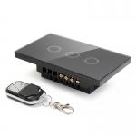 Touch switch สวิทช์ไฟสัมผัส รองรับรีโมทคอนโทรล สีดำ 3 ปุ่ม