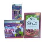 Super 4G Gluta Grape Placenta วิตามิน ผิวขาว + 4G Beta Plus วิตามิน เมล็ดองุ่น กิงโกะ กลูต้า Q10 + 4G Beauty Shot Collagen Gluta