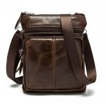 OP-2811 B กระเป๋าหนังแท้ สะพายข้าง ใบเล็ก สีน้ำตาลเข้ม