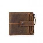 OP-6033 กระเป๋าสตางค์ผู้ชาย ใบสั้น หนังนูบัค สีน้ำตาลเข้ม