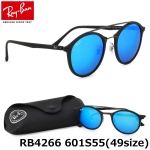 แว่นกันแดด RayBan Tech RB4266 601S55 size 49mm กรอบกลมสีดำ เลนส์ปรอทฟ้า